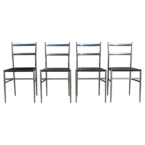 Modern Chrome Dining Chairs, S/4