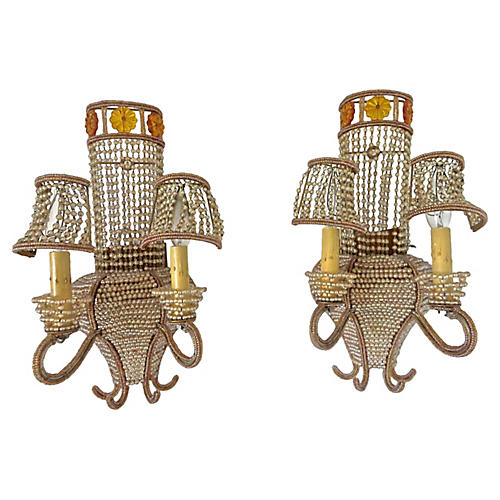 1940s Bagues-Style Beaded Sconces, S/2
