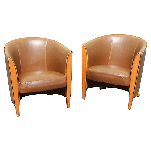French Art Deco Leather Club Chairs, S/2