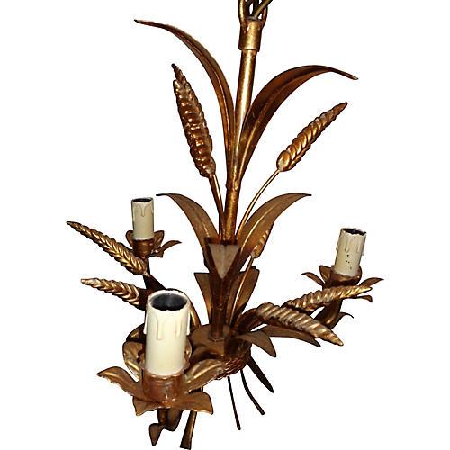 Maison Bagues Gilt-Tole Wheat Chandelier
