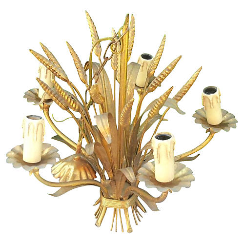 1950s Bagues Gilt-Tole Wheat Chandelier