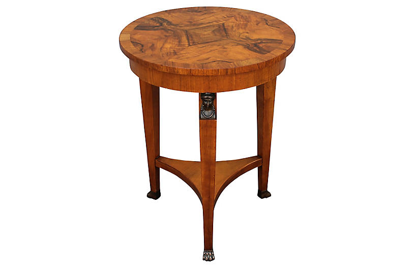 Neoclassical Baker Burl Accent Table