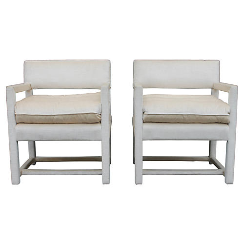 Century Cream Armchairs, Pair