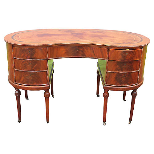 Flame Mahogany Kidney-Shaped Desk