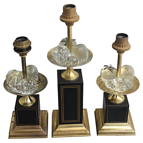 Maison Charles Crystal Fruit Lamps, S/3