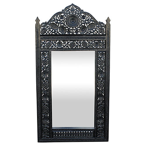 Ebonized Floral Mirror