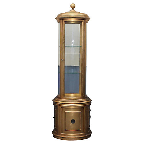 Hollywood Regency Round Display Cabinet