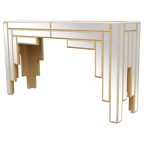 Art Deco-Style Mirrored Console