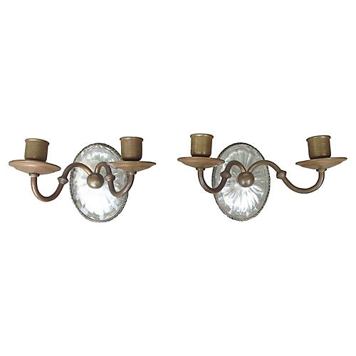 C. 1880 Caldwell Crystal Sconces, Pair