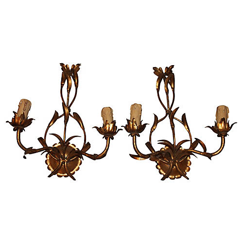 Maison Bagues Gilt Floral Tole Sconces