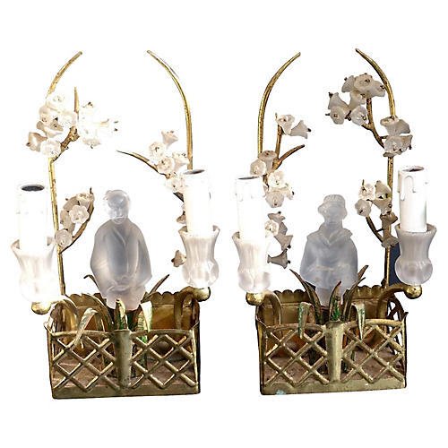 1940s Chinoiserie Sconces, Pair