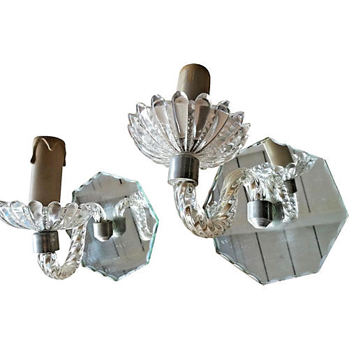 Pr Murano w/ Cut Mirrored Back Sconces
