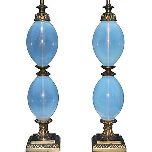 '40s Italian Opalescent Ovoid Lamps, S/2