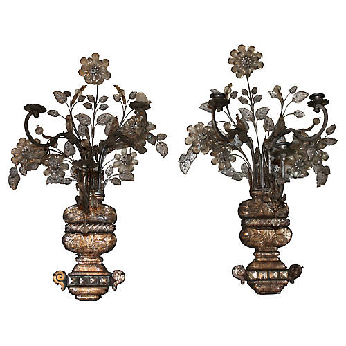 19th-C. Baguès Rock Crystal Sconces, S/2
