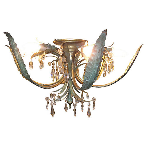 '50s Maison Bagues Foliate Flush Mount