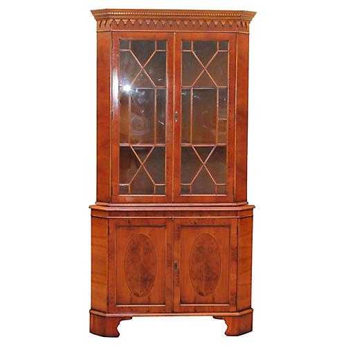 Burl Carved Corner Cabinet