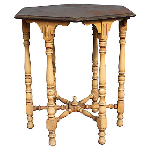 Midcentury Hexagonal Side Table