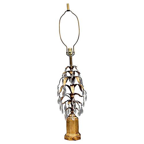 Midcentury Italian Tole Fern Table Lamp