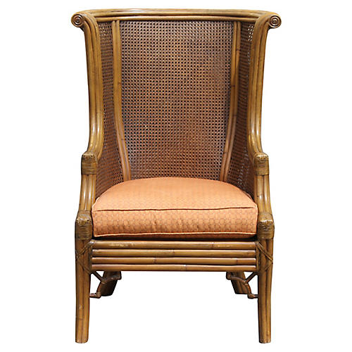 Double-Caned Wingback Chair