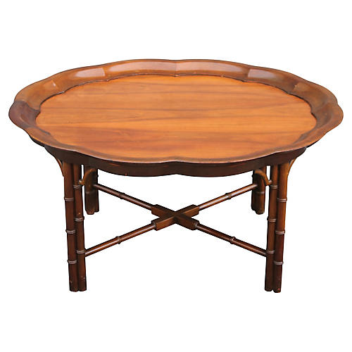 Vtg Faux Bamboo Traditional Coffee Table