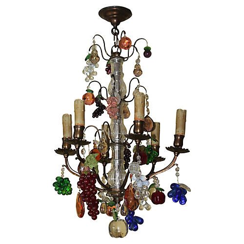 19thc Bagues w/ Murano Fruit Chandelier