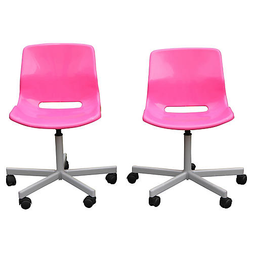 S/2 Pink Girls Room Swvel Bucket Chairs