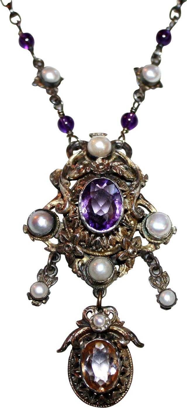 Antique Amethyst & Pearl Necklace