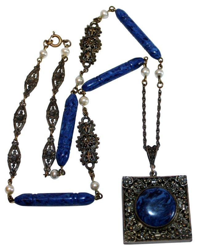 1930s Faux-Lapis Locket Necklace