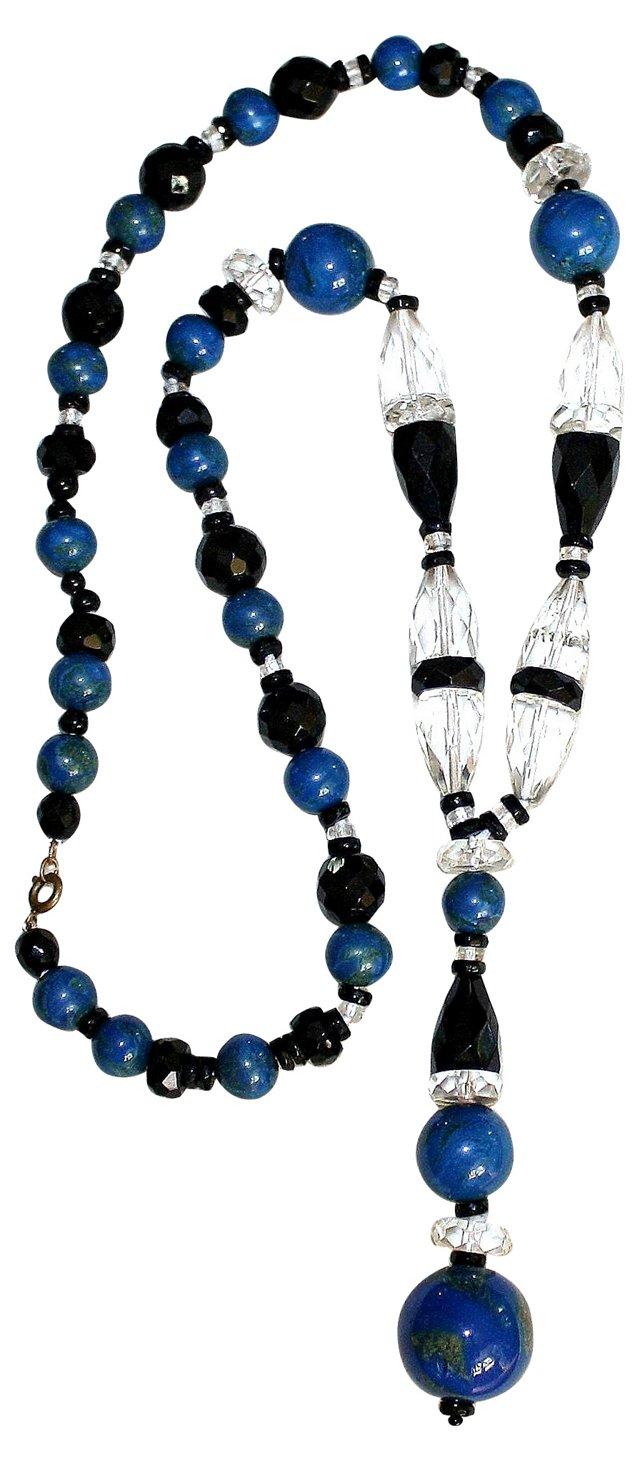 Art Deco Faux-Lapis Pendant Necklace