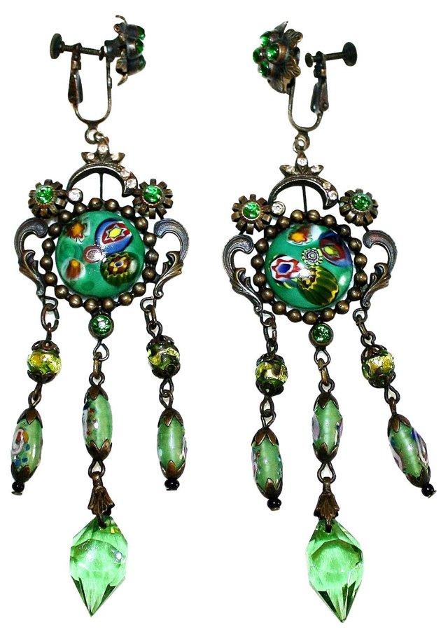 Czech Art Glass Dangling Earrings