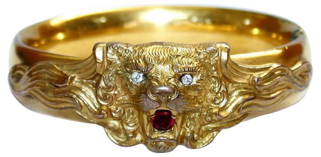 Victorian Gold-Filled Lion Bangle