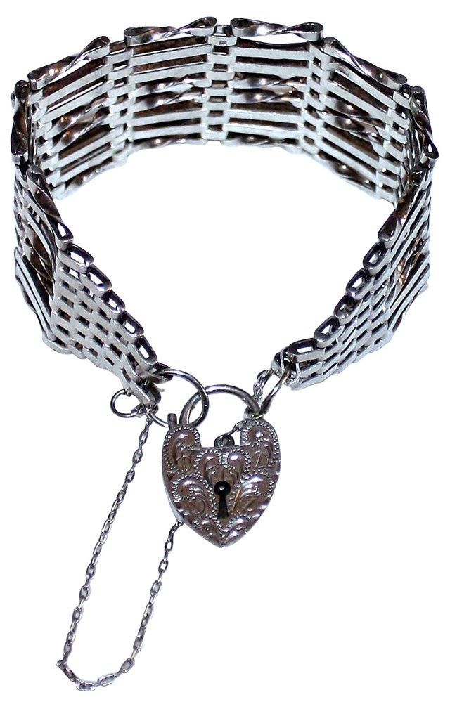 Sterling Bracelet w/ Heart Lock