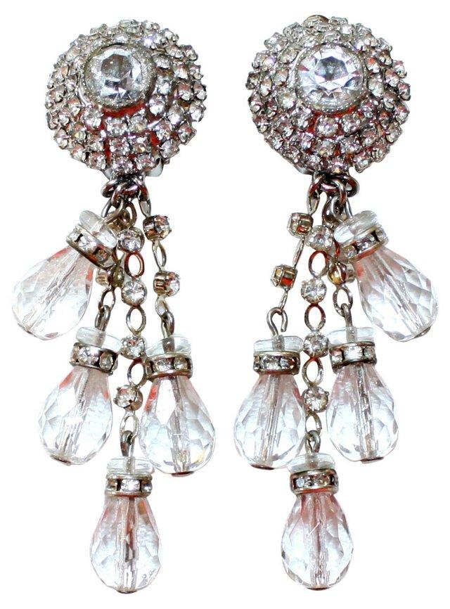 deLillo Faceted Rhinestone Drop Earrings
