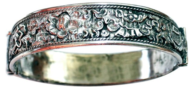 Antique Chinese Hinged Sterling Bangle