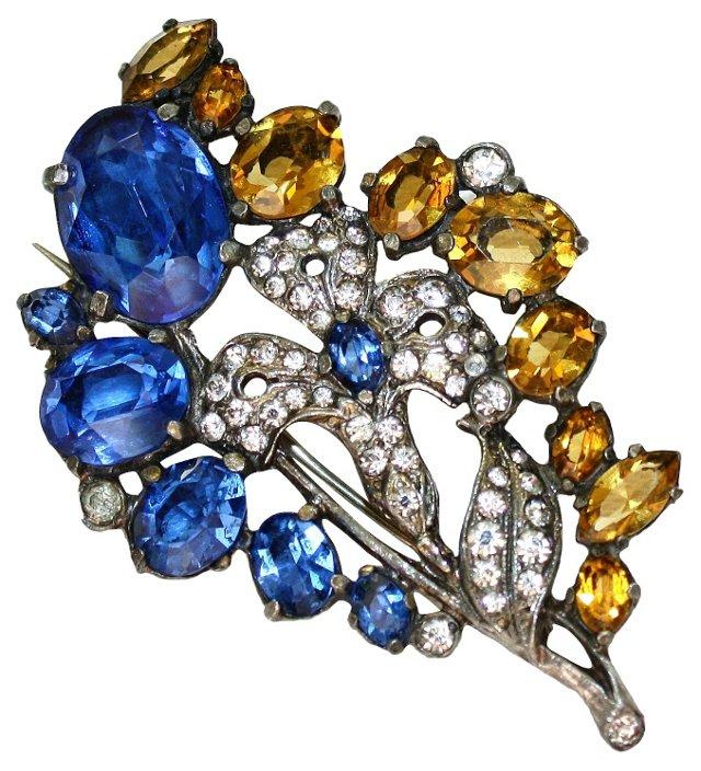 1930s Blue & Topaz Floral Brooch