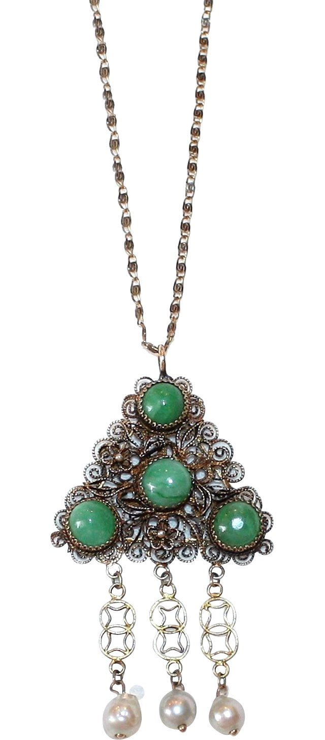1930s Chinese Sterling & Jade Pendant