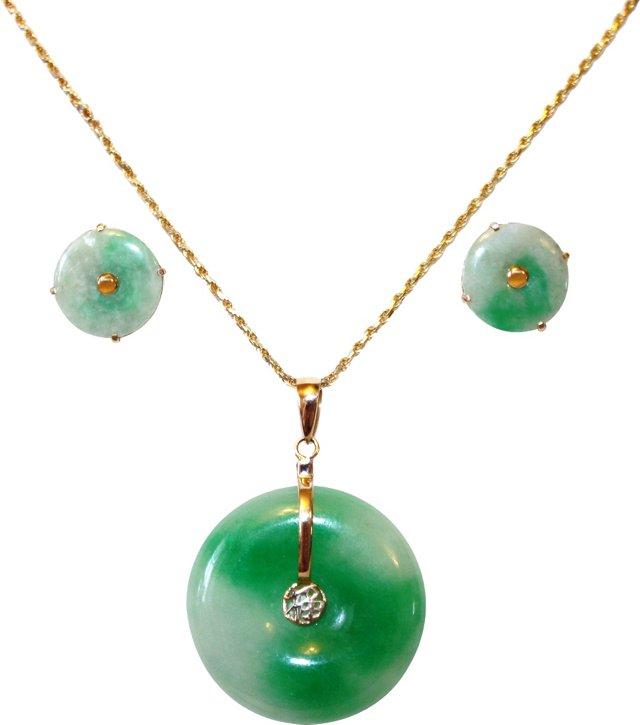 14K Gold & Jade Pendant & Earrings