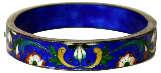 Cobalt Blue Floral Hinged Bangle