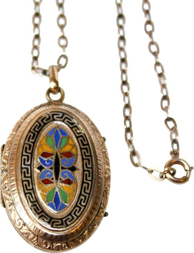 Antique Gold-Filled & Enameled Locket