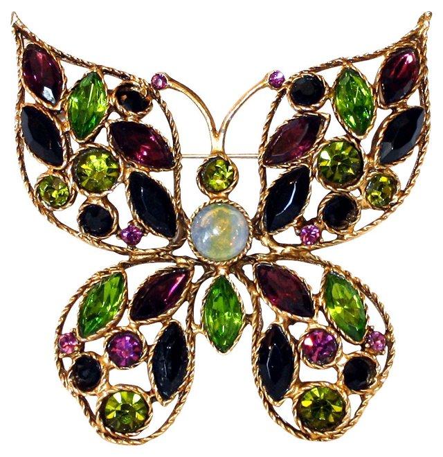 Jeweled Butterfly Brooch