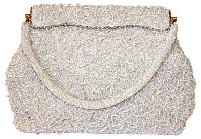1960s Off-White Beaded Evening Bag