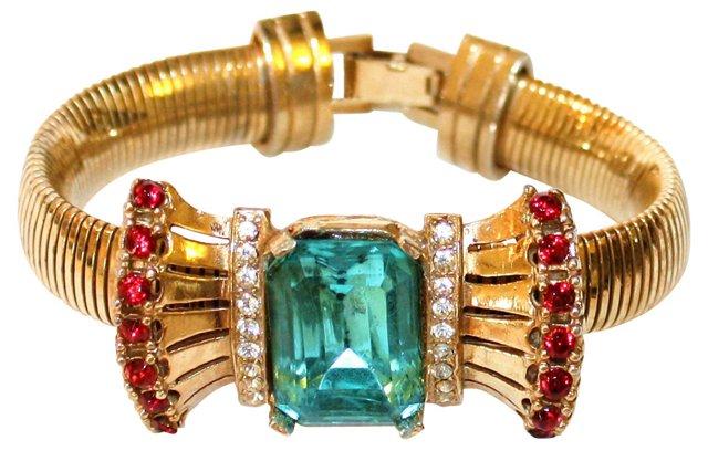 1940s Jeweled Bow-Motif Bracelet