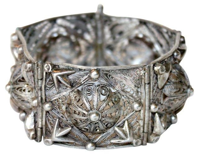 Etruscan-Style Silver Filigree Bracelet