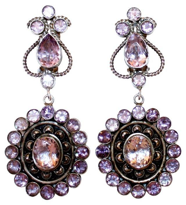 Sterling & Amethyst Dangling Earrings