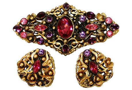 Czech Purple & Pink Brooch & Earrings