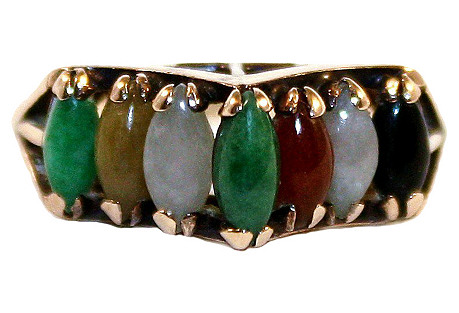 14K Gold & Marquise-Cut Jade Ring