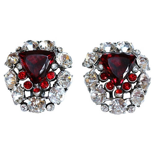 1930s Red & Rhinestone Dress Clips, Pair