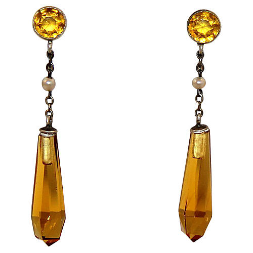 Edwardian Goldtone & Topaz Drop Earrings
