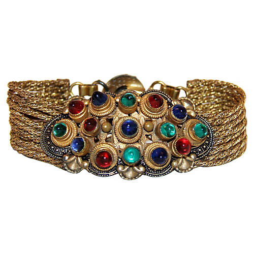 Czech Jewel-Toned Cabochon Bracelet