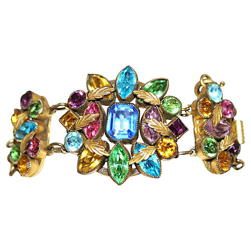 Czech Multicolor Faceted Stone Bracelet